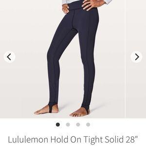 lululemon athletica Pants - Lululemon stirrup hold on tight navy legging sz 4